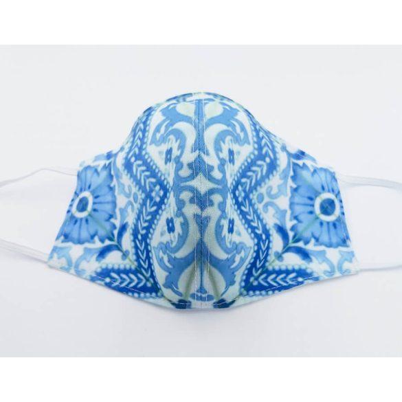 Zsolnay kék ornamentikás csempe maszk