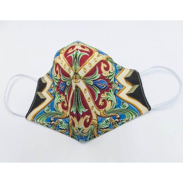 Zsolnay motívumú szecessziós csempe egyedi maszk