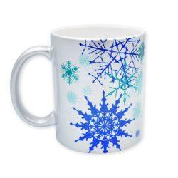 Ezüst kék karácsonyi hópehely bögre