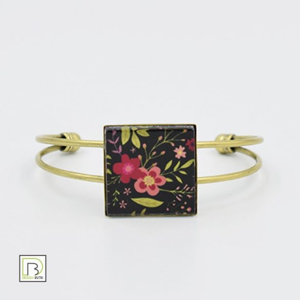 Fekete tavaszi virág karkötő