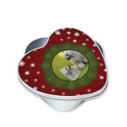 Fényképes karácsonyi jutifalatos doboz piros-zöld