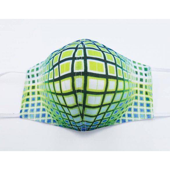 Op-art kék zöld kör kocka egyedi maszk