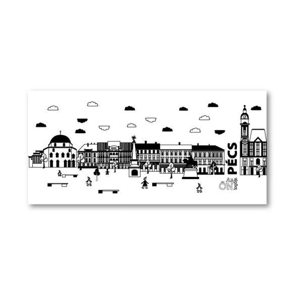 Pécs Széchenyi teres fekete fehér bögre
