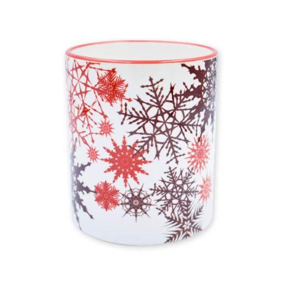 Piros karácsonyi hópehely bögre