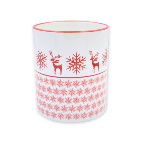 Piros karácsonyi hópehely textúra bögre