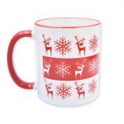 Piros karácsonyi szarvas-hópihe bögre