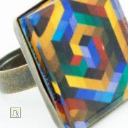 Vasarely Bach kockás gyűrű