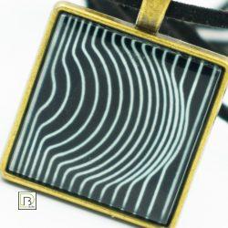 Vasarely fekete alapú kör nyaklánc
