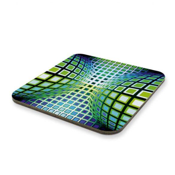 Vasarely kék-zöld kör kocka poháralátét