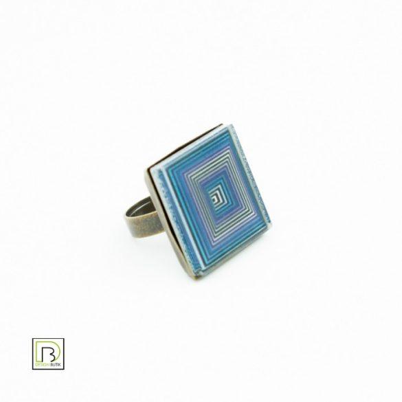 Vasarely kék négyzetek gyűrű