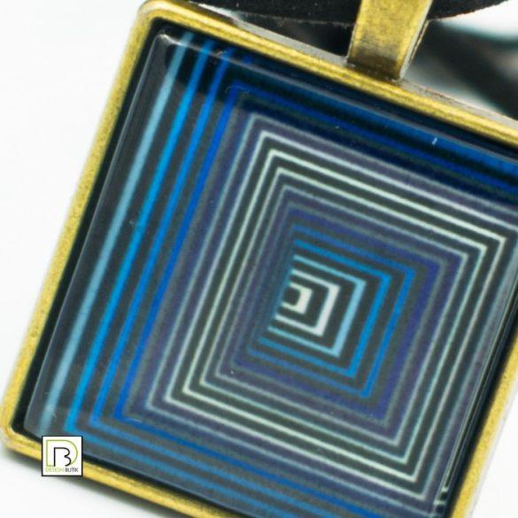 Vasarely kék négyzetek nyaklánc