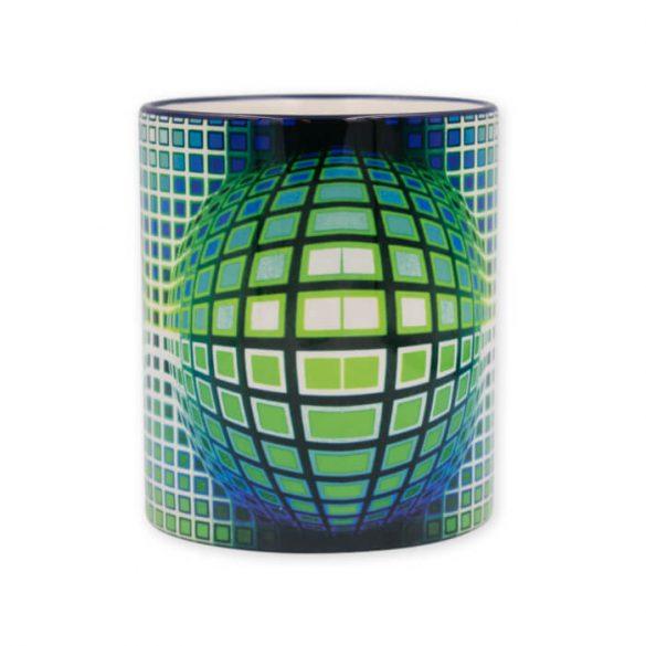 Vasarely kék zöld kör kocka bögre