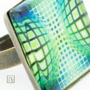 Vasarely kék zöld kör kocka gyűrű