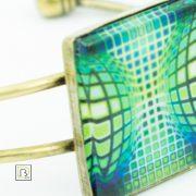 Vasarely kék zöld kör kocka karkötő