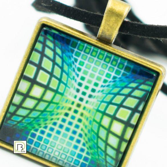 Vasarely kék zöld kör kocka nyaklánc