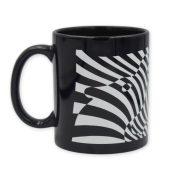 Vasarely két zebrás fekete bögre