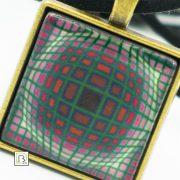 Vasarely lila négyszöges nyaklánc