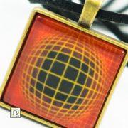 Vasarely narancs négyszöges nyaklánc