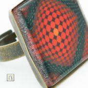 Vasarely piros körös gyűrű