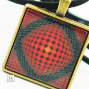 Vasarely piros körös nyaklánc