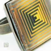Vasarely sárga négyzetek gyűrű