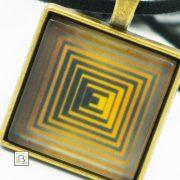 Vasarely sárga négyzetek nyaklánc