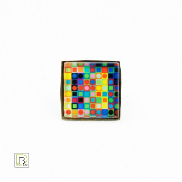 Vasarely színes kockák gyűrű
