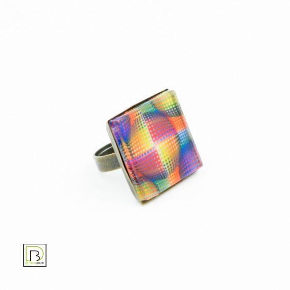 Vasarely színes kör gyűrű