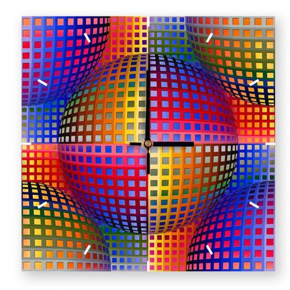 Vasarely színes kör óra