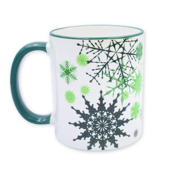 Zöld karácsonyi hópehely bögre