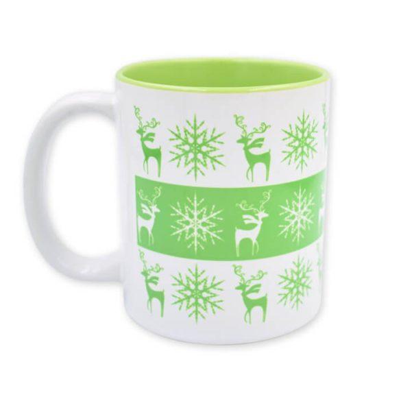 Zöld karácsonyi szarvas-hópihe bögre