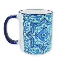 Zsolnay kék ornamentikás csempe bögre